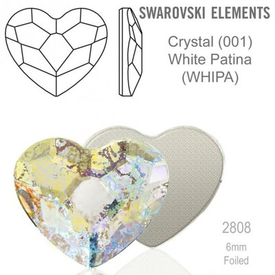 Swarovski Flat Backs White Patina Heart 6mm 6pcs (37)