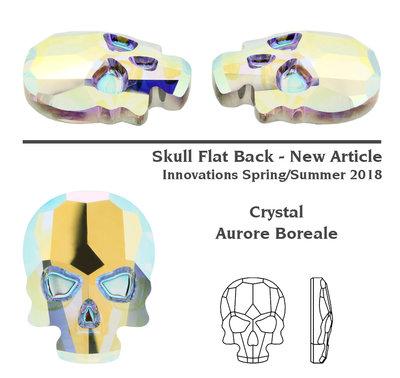 Swarovski 2856 Skull Crystal AB 3pcs (77)