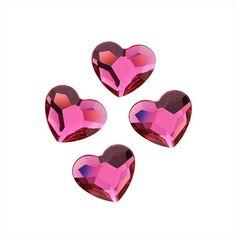 Swarovski Flat Backs Fuchsia Heart 6mm 6pcs (16)